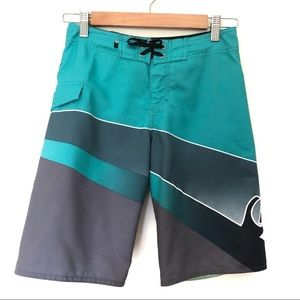 Quiksilver Sz 12 Boys Board Shorts 26 Green, Grey and White Velcro and lace up